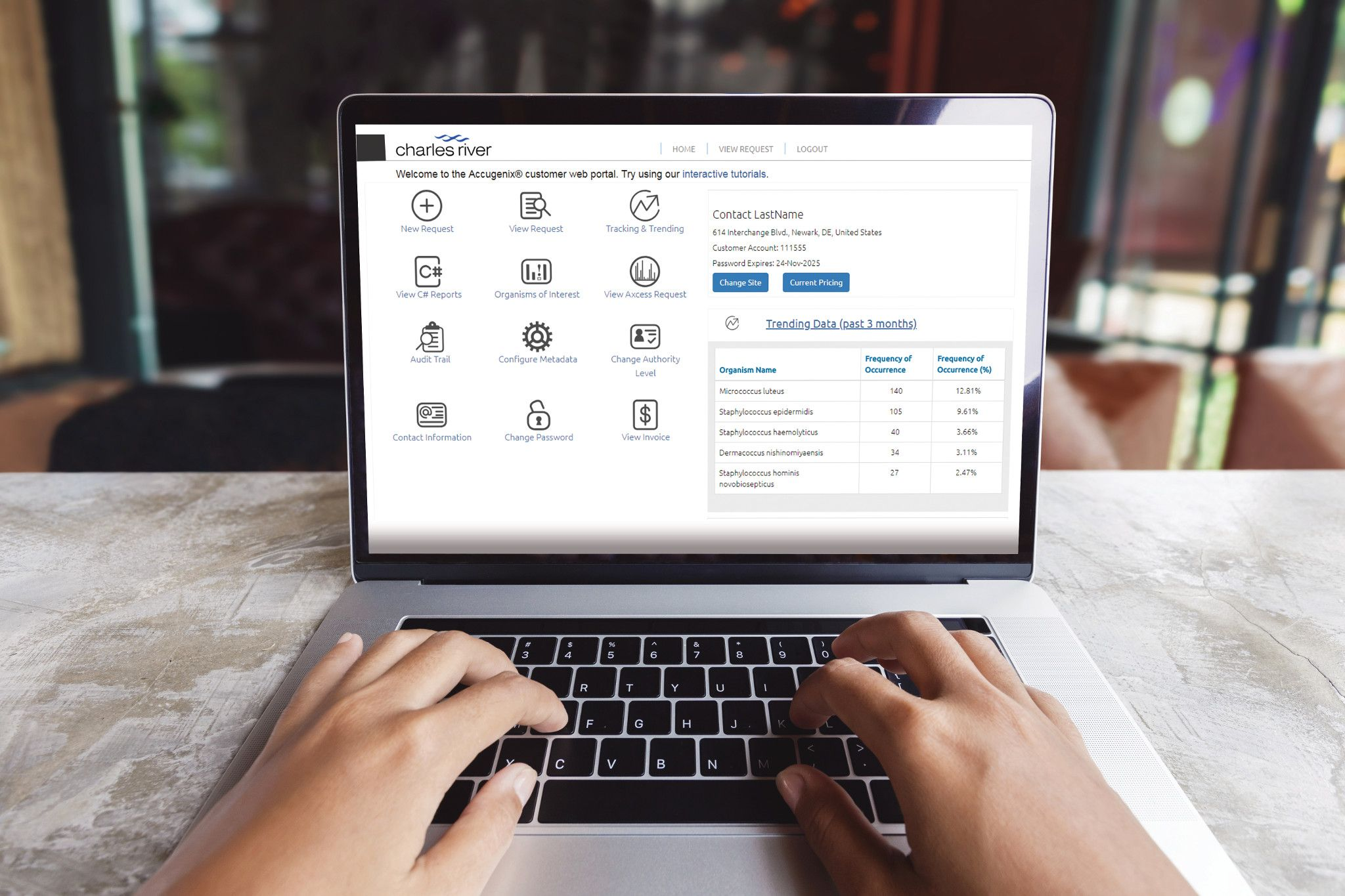 laptop displaying Charles River Customer Web Portal