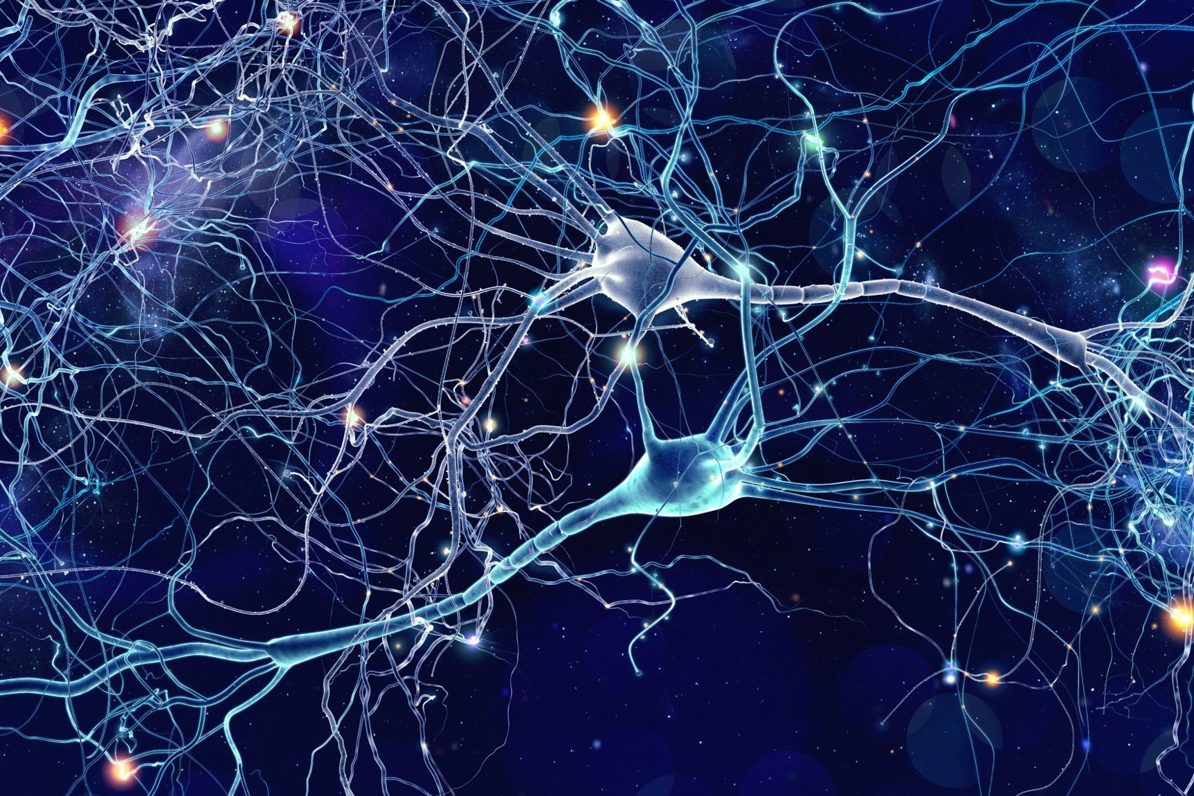 Conceptual illustration of neuron cells with glowing link knots in abstract dark space, high resolution 3D illustration.