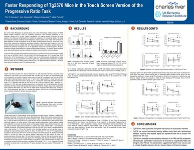 Scientific Poster entitled faster responding of Tg2576 mice in the touchscreen version of the progressive ratio task.