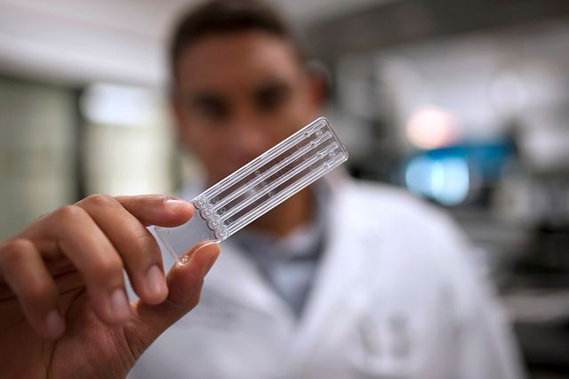 Lab technician holding an LAL testing cartridge