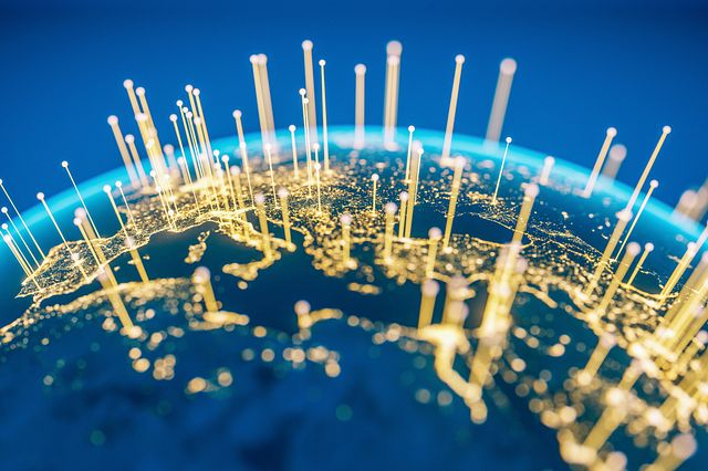Abstract Earth view from space with fiber optic cables rising from major cities