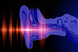Conceptual image of a human ear hearing with sound waves.
