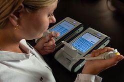 technician using Endosafe nexgen-PTS for rapid endotoxin testing