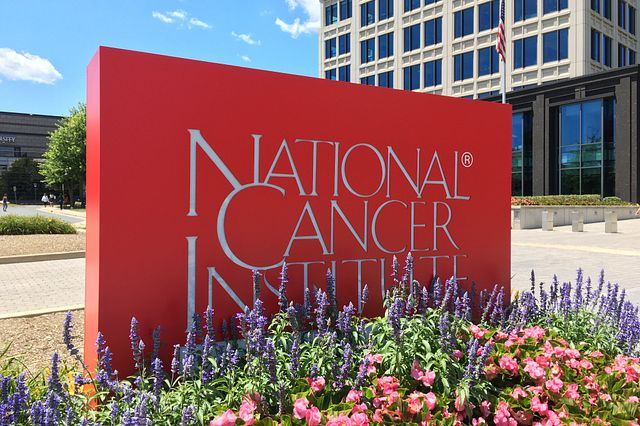 NCI sign outside a National Cancer Institute building