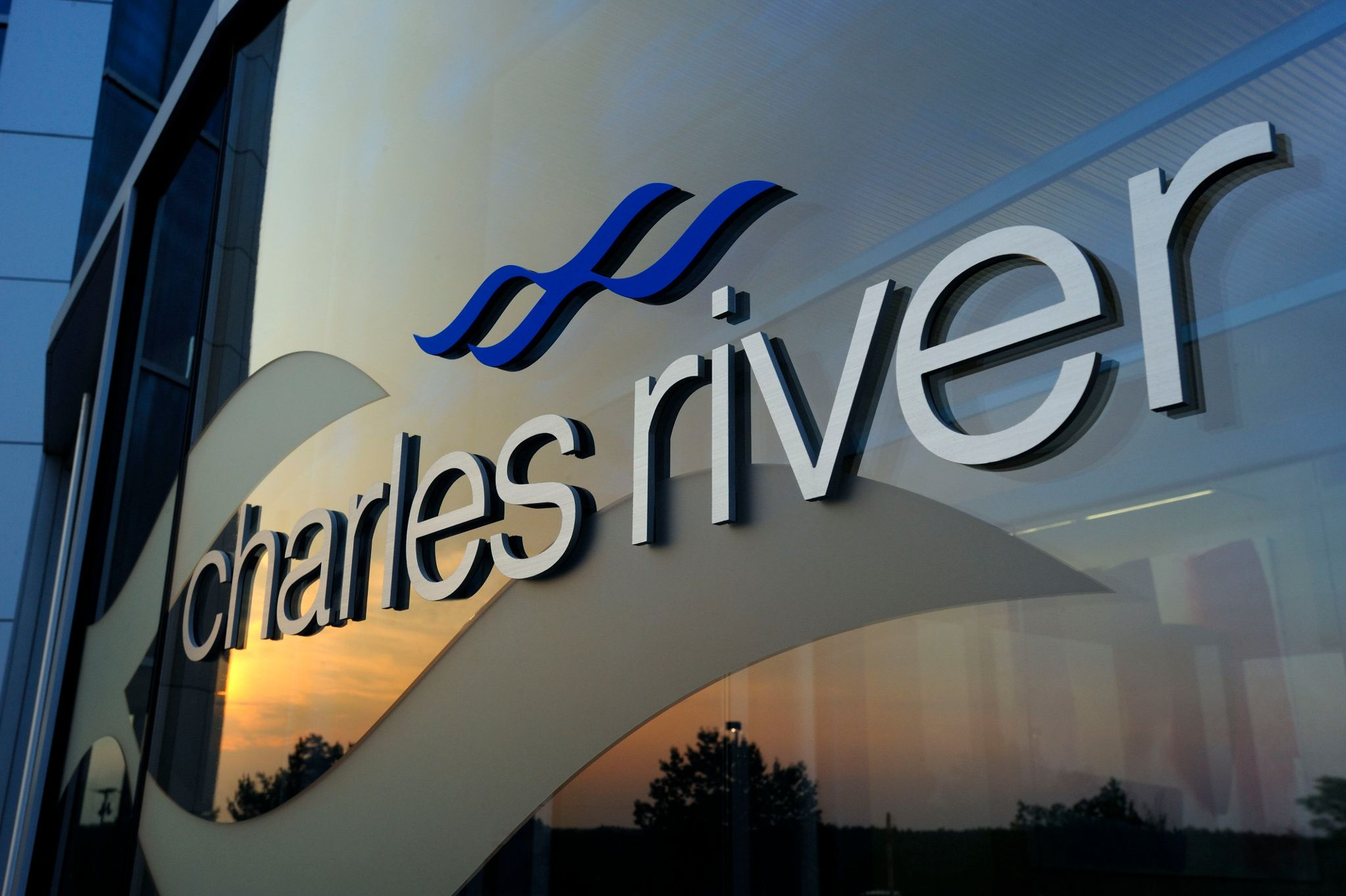 exterior of Charles River headquarters at sunset