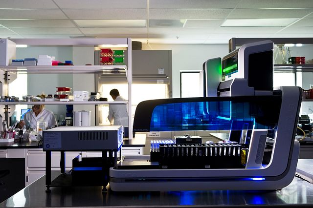 Robotic endotoxin testing system on lab bench