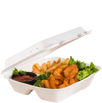 Buffalo wings in a foam hinged lid container