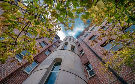 view of nagel hall tower