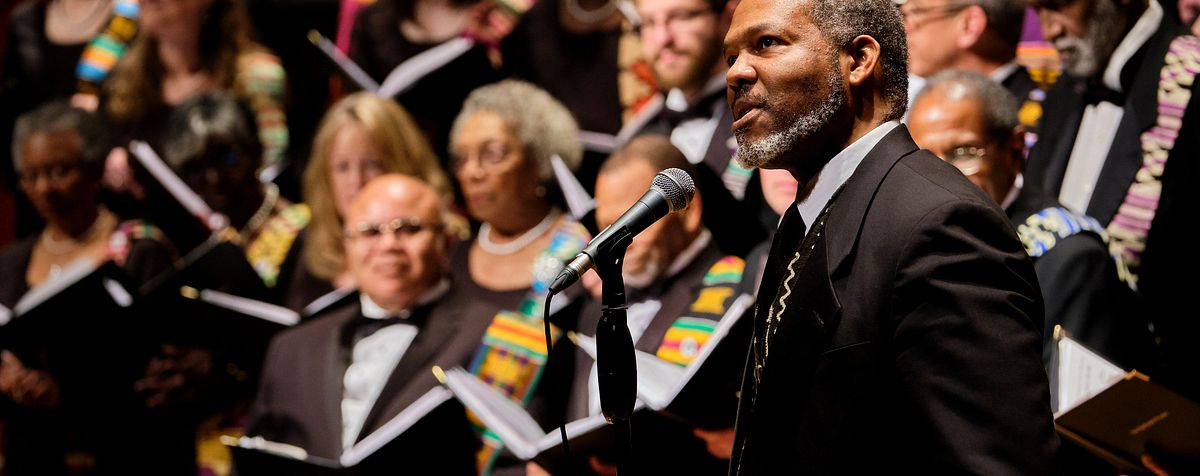 M. Roger Holland, II directs the Spirituals Choir.