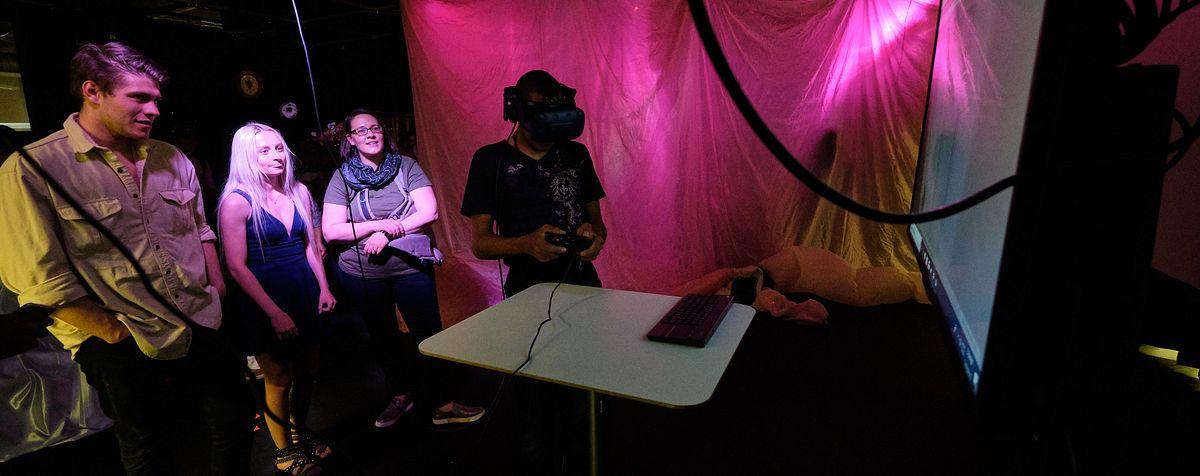 students enjoying VR exhibit