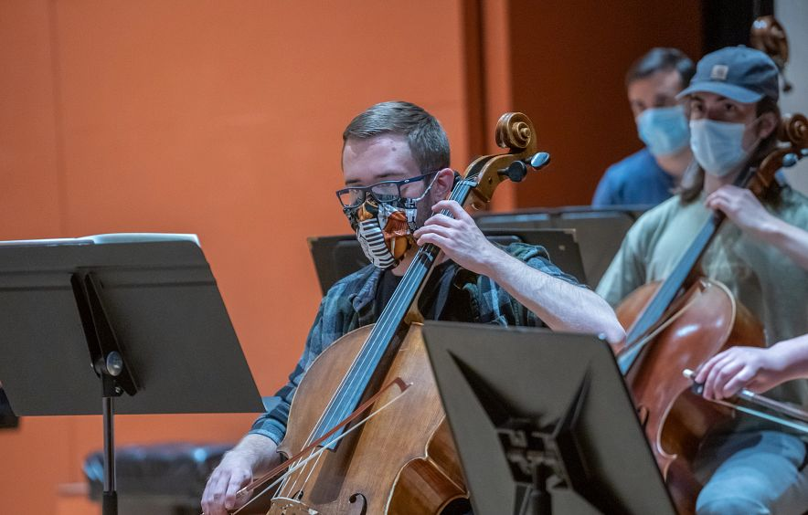 orchestra practice with masks