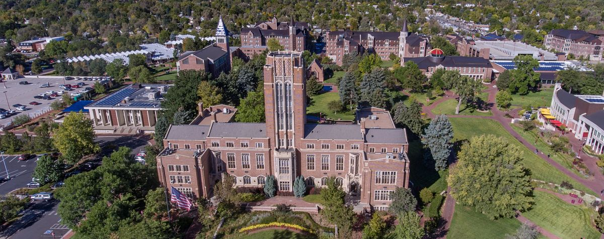 drone shot of Mary Reed building