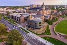 aerial view of DU campus