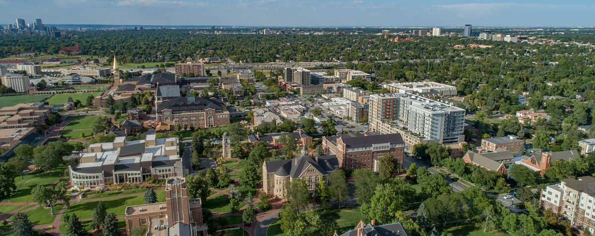 aerial view of Campus and surrounding neighborhood