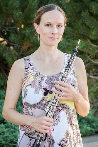 Sarah Mellander Bierhaus holding an oboe