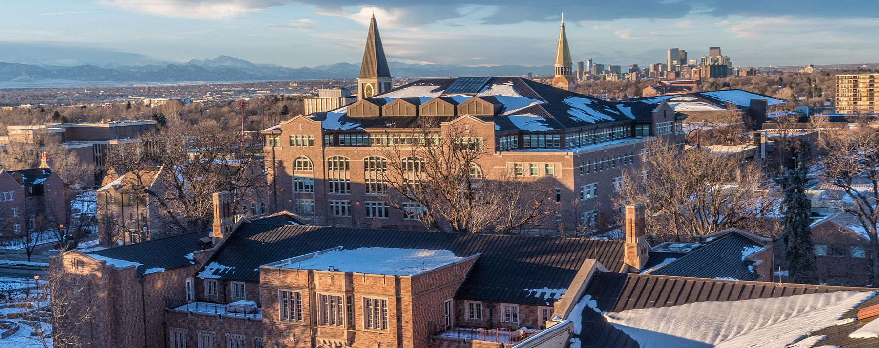 aerial view of snowy campus