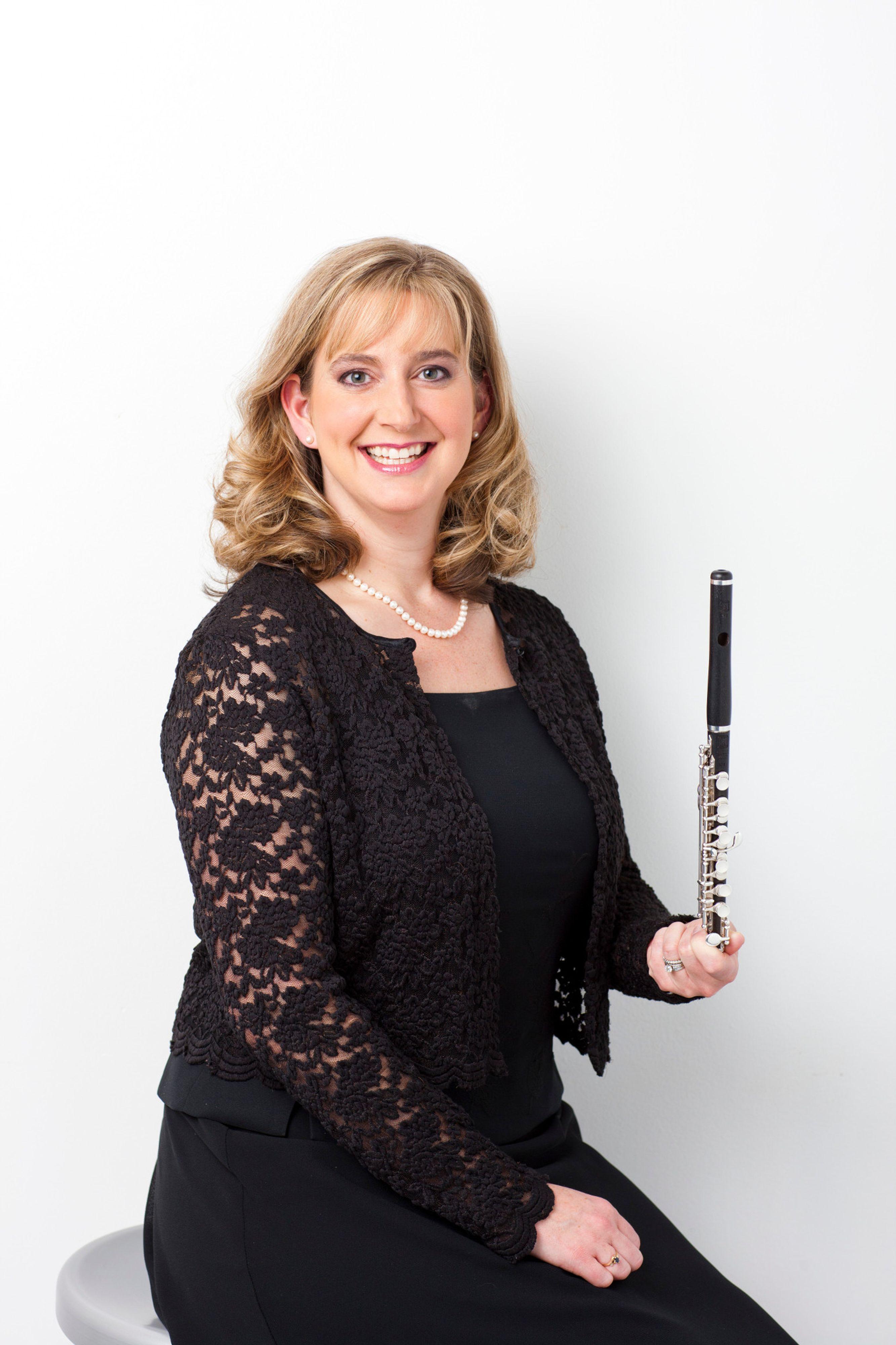 Julie Duncan Thronton holding a flute