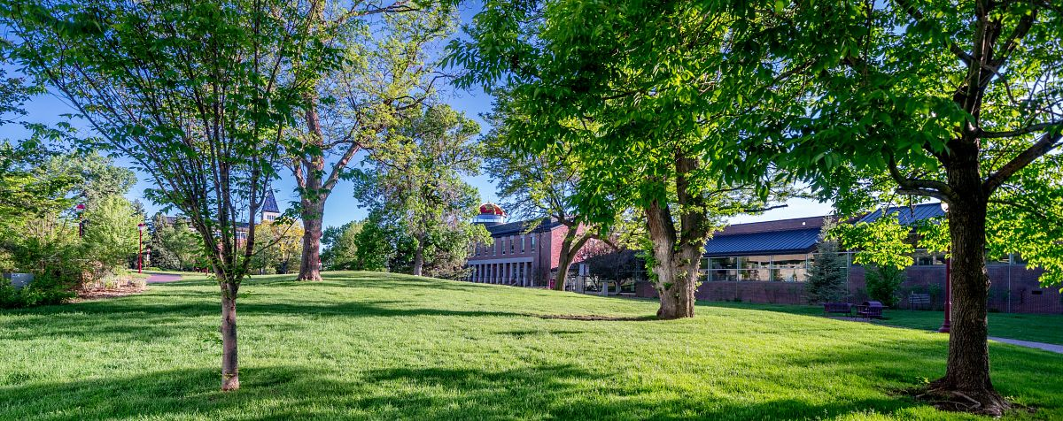 The campus grounds in spring.