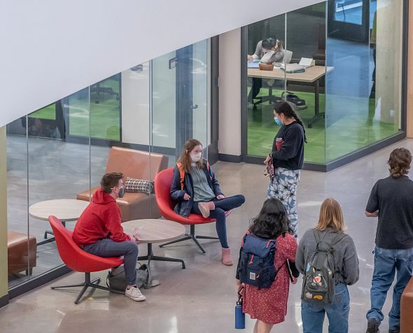 Students inside Community Commons