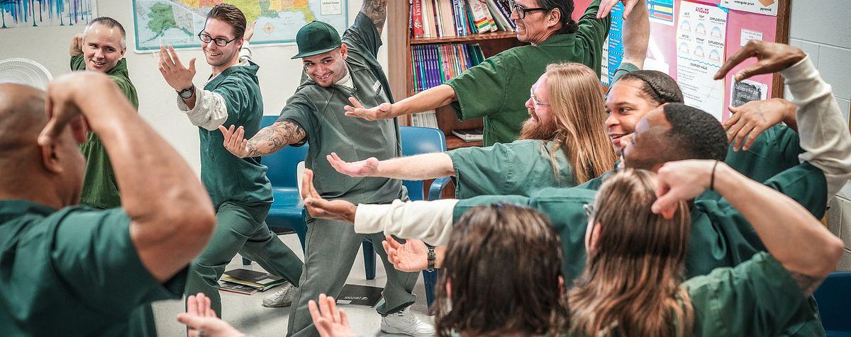 Students in DU Prison Arts Initiative theatre workshop