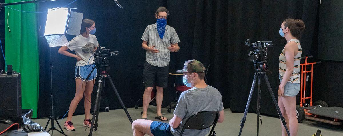 media students in film class
