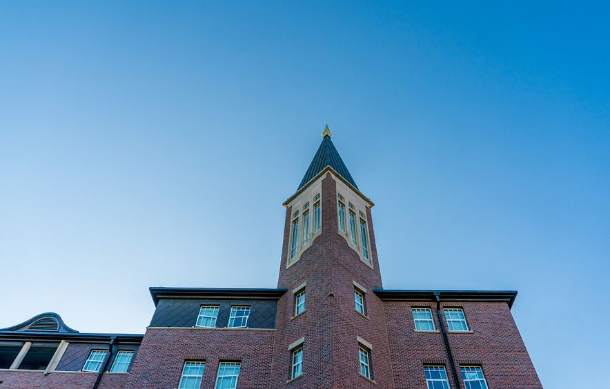 nelson hall from below