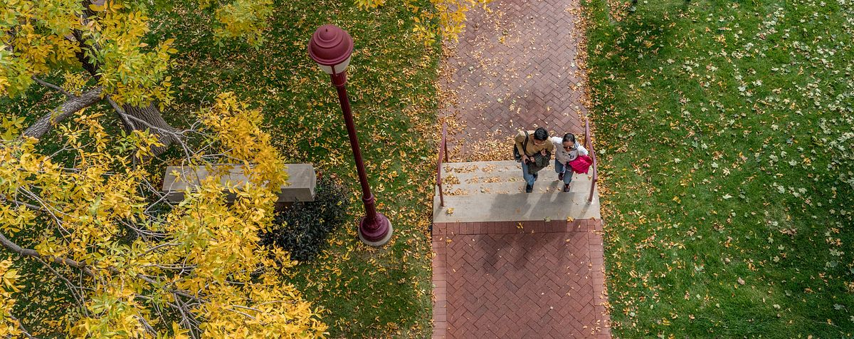 DU community members walking along pathway on campus