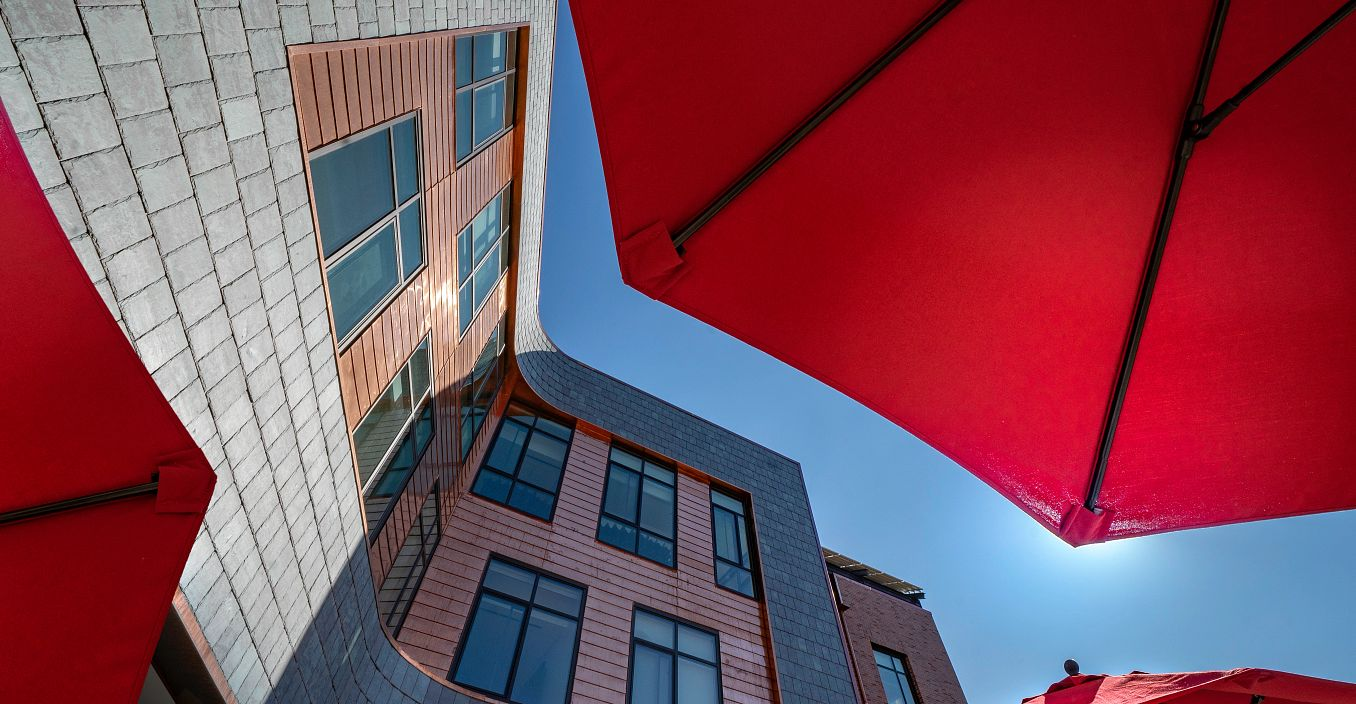 Umbrellas outside Burwell Center