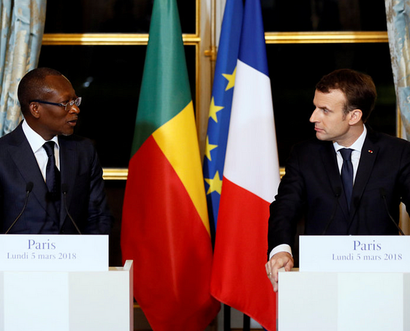 French President Emmanuel Macron and President Patrice Talon of Benin hold a joint press conference after a meeting at the Elysee Palace in Paris, France, March 5, 2018. From csmonitor.com