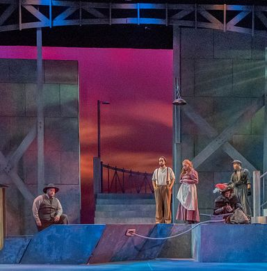 """Lamont Opera Theatre's production of Puccini's """"Il trittico""""  on the set students had a hand in creating."""