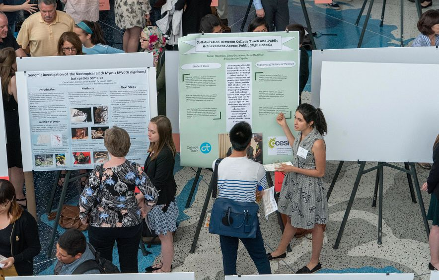 students looking at poster presentations