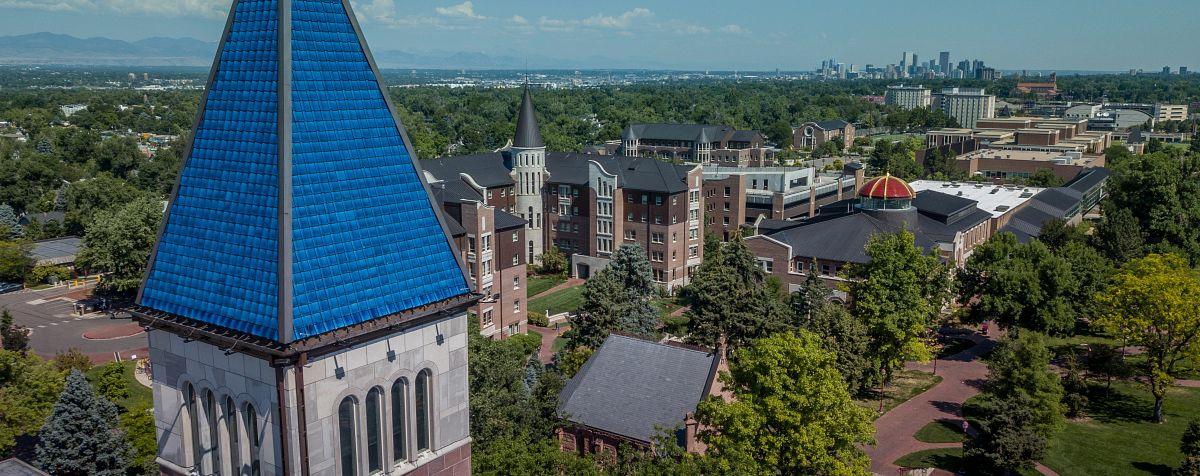 aerial photo of DU campus in summer