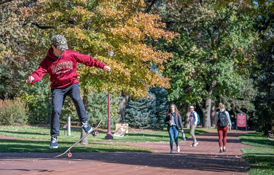 Student on skateboard