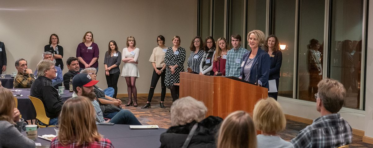 Students and Faculty present at the opening of the Veterans Legacy Project Exhibit.