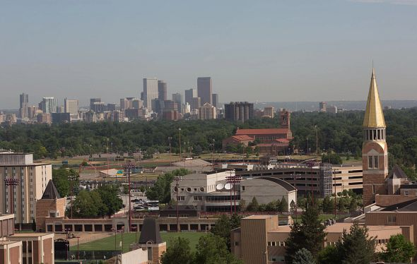 picture of DU campus and downtown Denver
