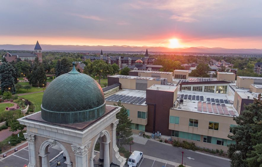 Drone campus sunset