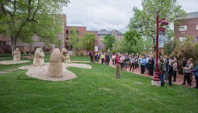 statue ceremony on DU campus