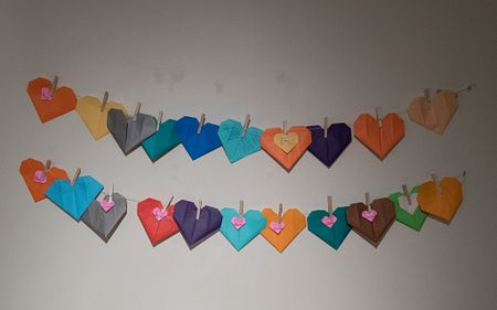 Hearts on string from the HeARTery of Pregnancy and Baby Loss exhibit