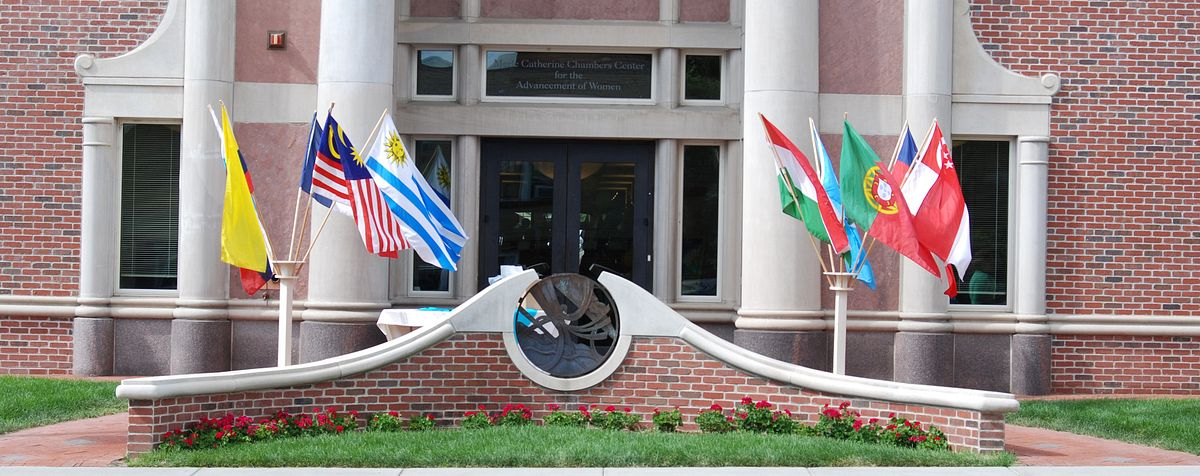 Chambers Center with flags in front