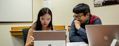 students studying at computers