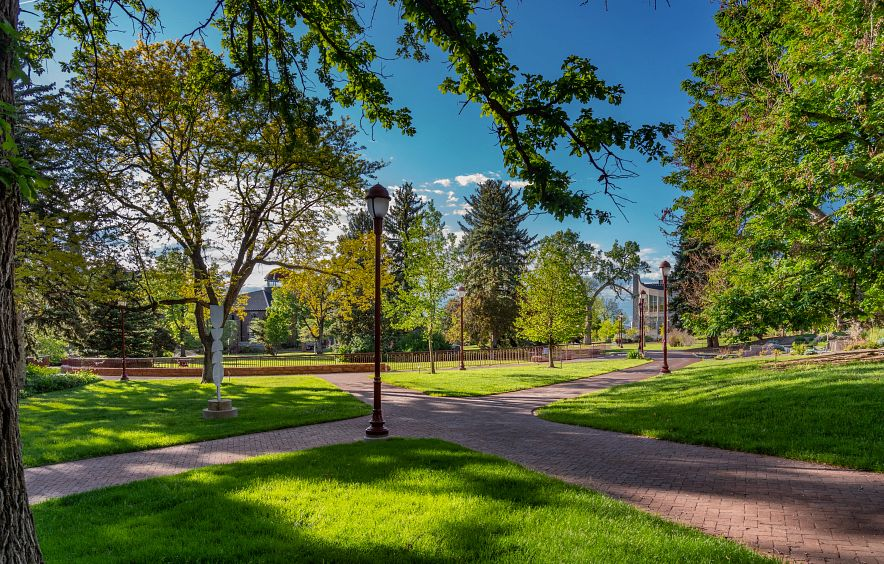 The campus grounds in springtime.