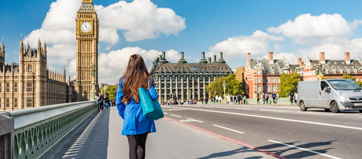 student walking in London
