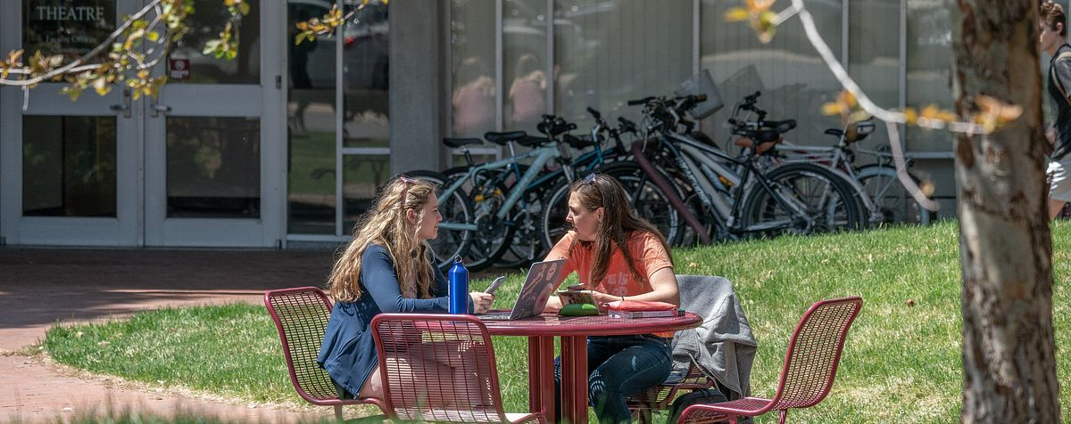 students talking at a table on DU's campus