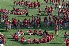 DU students gathered on field