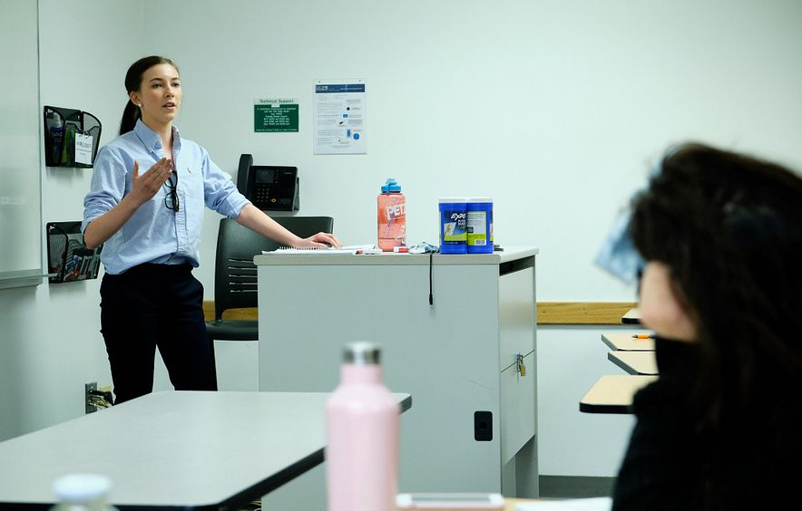 Student participates in debate