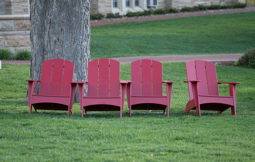photo of Adirondack chairs on campus