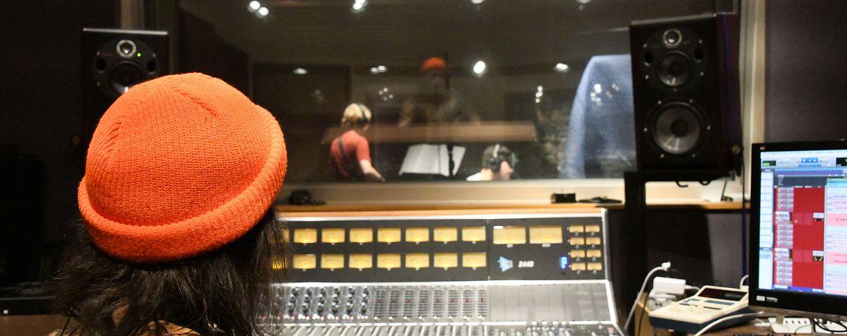 students in lamont recording studio