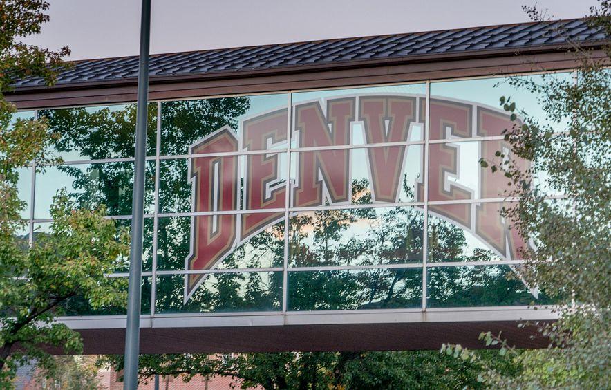 DU logo on glass walkway