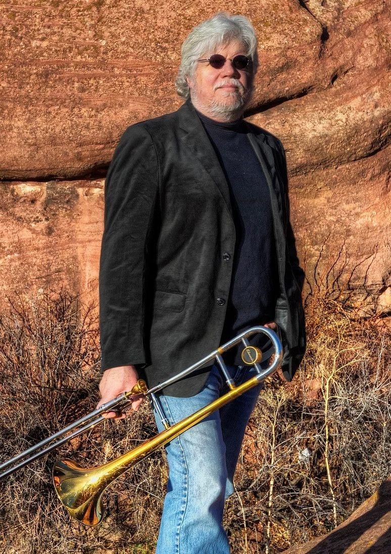 Steve Wiest holding trombone