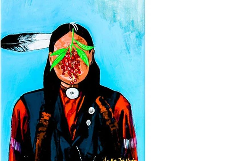 Arapaho withChokecherries (ode to Rene Magritte)
